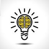 Gloeilampenidee met malplaatje van het hersenen het vectorembleem Collectief pictogram zoals logotype Stock Foto's