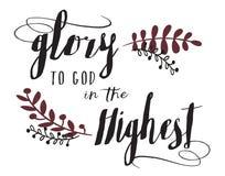 Gloire à Dieu dans la calligraphie la plus élevée de carte de Noël de conception de typographie Photographie stock