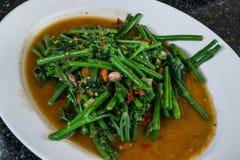 Gloire de matin faite sauter à feu vif, nourriture végétarienne thaïlandaise Image libre de droits