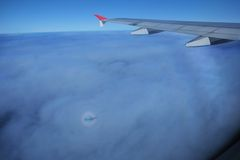 Gloire et l'ombre de l'avion image libre de droits
