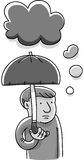 Gloom Cloud. A cartoon man with an umbrella to protect him from his gloom cloud Stock Image