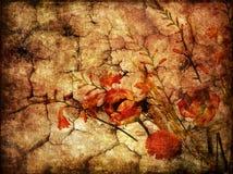 Gloomy autumn. Grunge cracked backround with dry flowers Stock Illustration