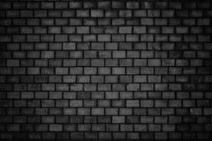 Gloomy background, black brick wall of dark stone texture Stock Photography