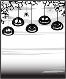 Gloomy background with pumpkins Stock Photos