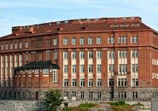 Gloomy building of red brick Stock Image