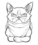 Gloomy cartoon cat sitting Stock Photography