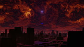 Gloomy city of aliens and UFO. In the heavy red sky bright star. Slowly fiery clouds move. The blue bright object (UFO) takes off because of the horizon and stock footage