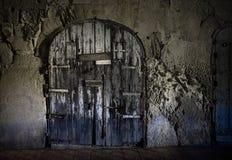The gloomy closed door of the city of Valletta. Malta. Malta at night royalty free stock photos