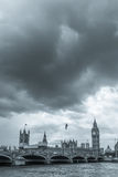 Gloomy clouds hover over Westminster bridge. LONDON, UK - JUNE 15, 2016:  Clouds hover over Westminster bridge and the houses of Parliament Royalty Free Stock Photography