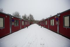 Gloomy container housing in winter. Gloomy, desolate housing containers during winter Royalty Free Stock Photos