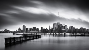 Gloomy Day for the Financial District. Fine Art black and white Lower Manhattan photo, taken from Jersey City across the Hudson River Stock Photos