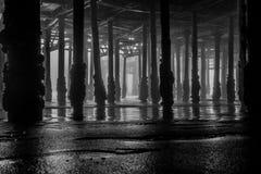 Gloomy Day Under the Pier. Underneath the Santa Monica Pier, California royalty free stock photo
