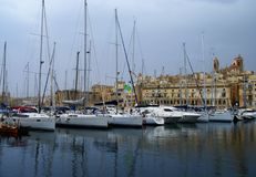 Gloomy evening in  the Mediterranean Sea on the Maltese  coast Stock Photos