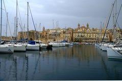Gloomy evening in  the Mediterranean Sea on the Maltese  coast Stock Photo