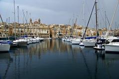 Gloomy evening in  the Mediterranean Sea on the Maltese  coast Royalty Free Stock Photo