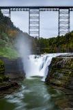 Historic Portage Bridge & Upper Falls - Portage River - Letchworth State Park - Livingston & Wyoming County, New York Royalty Free Stock Photo