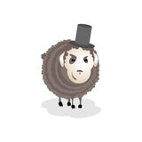 Gloomy, evil, cunning sheep in the hat Stock Photo