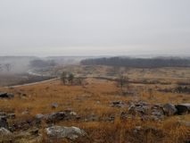 Gloomy Gettysburg battlefield & x28;The Devil& x27;s Den& x29; Stock Photos