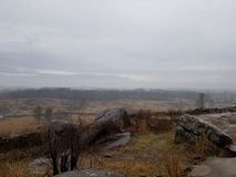 Gloomy Gettysburg battlefield Stock Photography