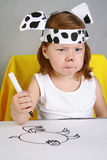 Gloomy girl �Dalmatian sketches Royalty Free Stock Photos