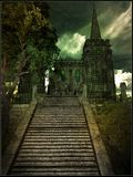 Gloomy gothic castle. Gloomy scenery with gothic castle, tree and stairs Royalty Free Stock Images