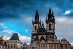 gloomy gothic Tyn Church in evening Prague, Bohemia, Czech Republic royalty free stock photography
