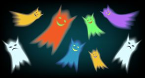 Gloomy and happy ghosts. Sullen and colored cheerful cute ghosts. Monster sad and smile Stock Photography