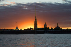 Gloomy may sunset over the Peter and Paul Fortress. Saint-Petersburg, Russia Stock Photos