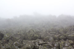 Gloomy mountain landscape. Fog in the mountains, the gloom comes down from the mountains. Mountain placer in the fog. Stones in the fog Royalty Free Stock Photos