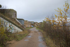 Gloomy october day on the North Forte. Kronstadt Stock Photos