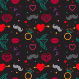 Gloomy Patterns. Hipster Vintage Seamless Pattern Vector On A Black Background. Heart, Lips, Mustache, Jewels, Bird. Stock Image
