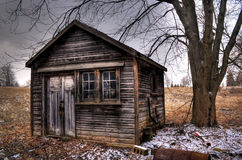 Gloomy shed. An abandoned shed on a stormy day Royalty Free Stock Photo