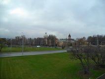 Gloomy sky over Alexander Nevsky Lavra in St. Petersburg stock photo