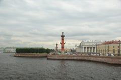 Gloomy sky over the Neva. River in St. Petersburg Stock Photo