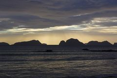 A gloomy sunset on the Filipino island. Of Palawan Stock Photo