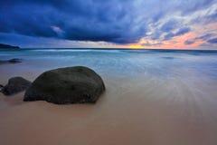 Gloomy tropical sunset. Stock Photo