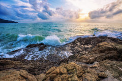 Gloomy tropical sunset. Royalty Free Stock Photography
