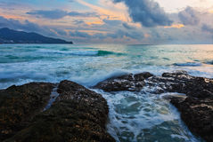 Gloomy tropical sunset Royalty Free Stock Images