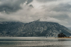 Gloomy weather and  Magic View of Bay of Kotor in spring time. M Royalty Free Stock Photo