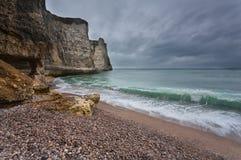 Gloomy weather on rocky coast Royalty Free Stock Images