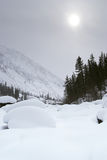 Gloomy weather in winter mountains Royalty Free Stock Photo