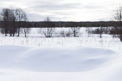 Gloomy weather in winter. Russian provincial landscape.  stock photography