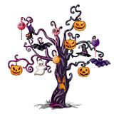 Gloomy wood with a shining face adorned with attributes of the holiday of evil spirit Halloween. Sketch for greeting. Card, festive poster or party invitations Royalty Free Stock Photos