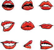 Gloosy red lips collection in various expressions Stock Image
