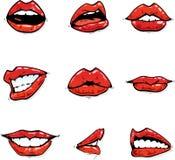 Gloosy rote Lippenansammlung in den verschiedenen Ausdrücken Stockbild