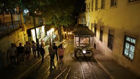 Gloria Funicolar night. Lisbon, Portugal - August 24, 2017: Elevador da Gloria, the most famous funicular that connects the Restauradores Square to Bairro Alto stock footage