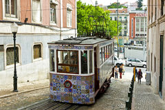 The Gloria Funicular Ascensor da Gloria in Lisbon, Portugal Stock Photography
