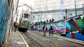 Gloria Funicular in the city center of Lisbon, National Monument in Portugal and a popular tourist attraction of Europe stock footage