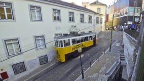 The Gloria Funicular (Elevador da Gloria) in Lisbon, Portugal. LISBON, PORTUGAL - SEPTEMBER 23, 2015: The Gloria Funicular (Elevador da Gloria) is a funicular stock footage