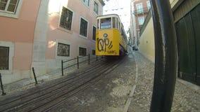 The Gloria Funicular (Elevador da Gloria) in Lisbon, Portugal. LISBON, PORTUGAL - SEPTEMBER 23, 2015: The Gloria Funicular (Elevador da Gloria) is a funicular stock video footage